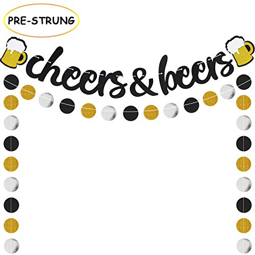 Cheers & Beers Banner Black Glittery Circle Dots Garland(57 pcs circle dots),Birthday Wedding Anniversarty Graduation Bachelorette Bridal Shower Engagement Retirement Baby Shower Hawaii Party Supplies]()