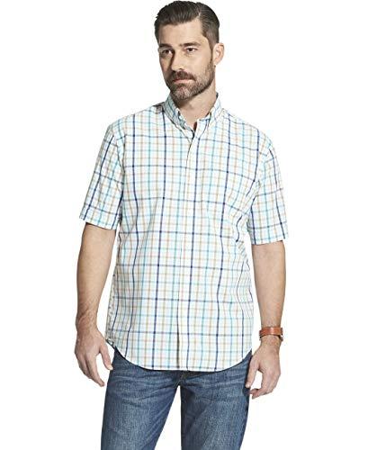 - Arrow 1851 Men's Hamilton Poplins Short Sleeve Button Down Plaid Shirt, Crystal Blue, Large