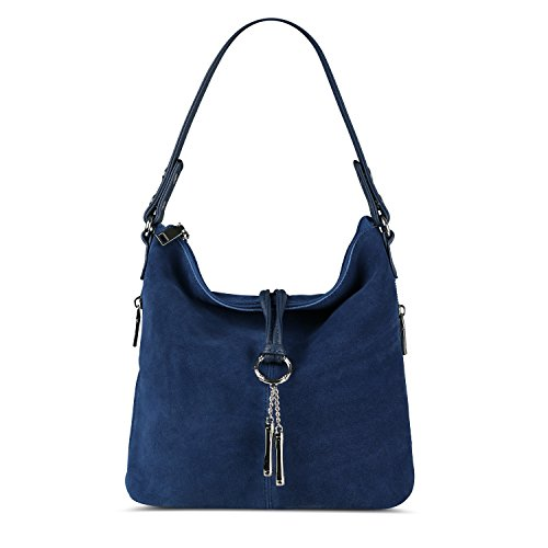 - Nico Louise Women Split Real Leather Shoulder Bag Female Suede Crossbody handbag Casual Lady Messenger Hobo Top-handle Bags (Blue)