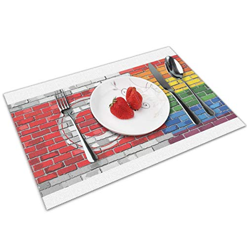 NBteach Calgary LGBT Flag Gay Pride Art Wall 4 Piece Set of Placemats Pc Party Decor Dining Room Home Table Place Mat Patio Xmas Holidays Kitchen Decorations Themed Print Pattern (Dining Tables Calgary Room)