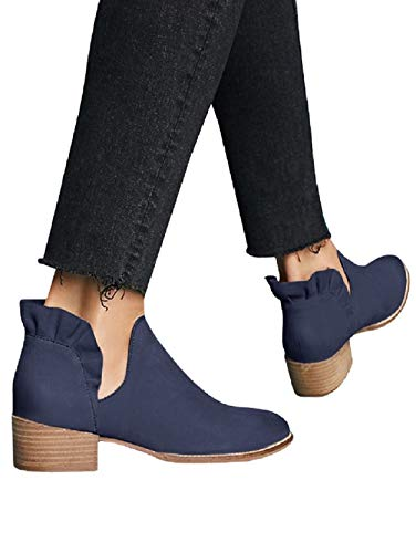 FISACE Womens Ruffle Cut Out Ankle Booties Slip On Chunky Low Heel Cowgirl Boots Navy