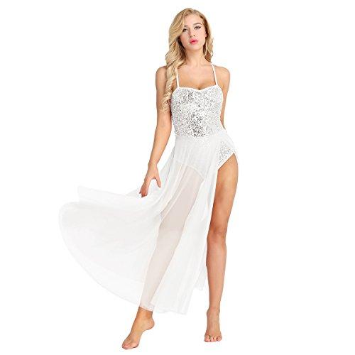 - CHICTRY Women's V Neck Criss Cross Sequins Full Length Lyrical Dance Maxi Skirt Dress White Small