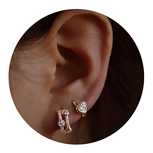 Small Hoop Earrings for Women - Gold Hoop Earrings Set Cz Cartilage Earrings for ()