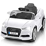 Costzon Ride On Car, 12V Battery Powered Ride-On Vehicle, Manual/Parental Remote Control Modes with Headlights, MP3, Music, High/Low Speeds, 2WD, White