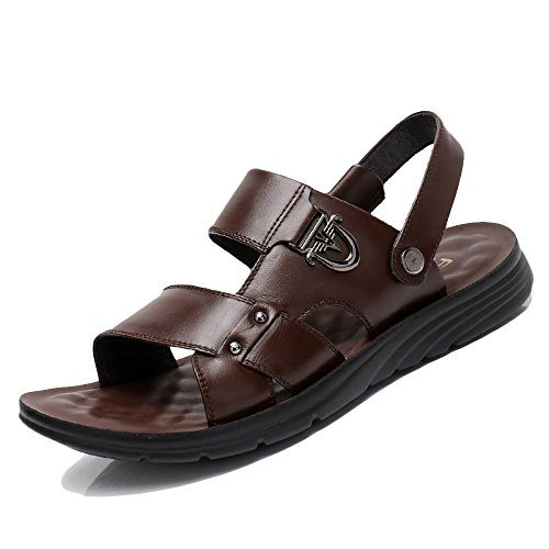De Cuero Wknbeu Los Brown Las Zapatos Del Hombres Verano Marrones Negras Sandalias 557faOr