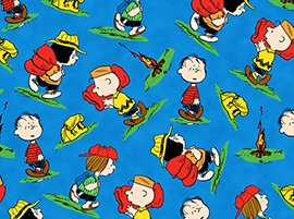 camp-peanuts-toss-linus-charlie-brown-gear-blue-cotton-fabric-by-the-half-yard