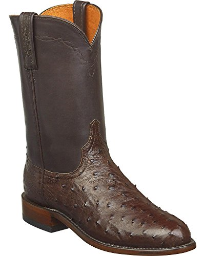 Lucchese Men's Handmade Zane Full Quill Ostrich Roper Boot Round Toe Dark Brown 13 D