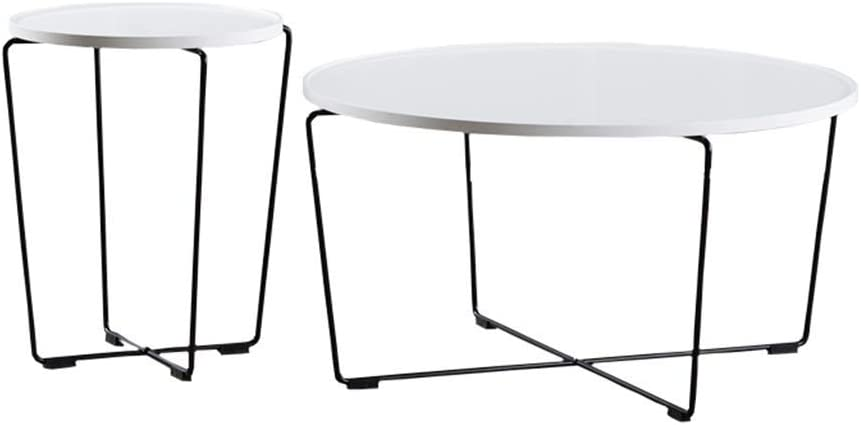 Home Side Table Deskx-Shaped Coffee Table Side Set Desktop Edge Heightening Design Solid Wire Diameter Base Ight and Easy to Move Iving Room Sofa Companion Round White, BOSS LV