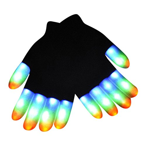 Fullfun Toddler LED Finger Lighting Gloves 7 Colors Light -