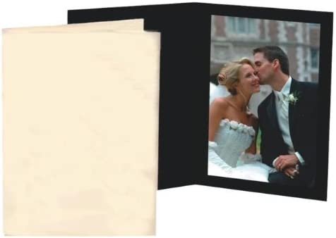 Black Waffle Cardboard Photo Folder for a 5x7 Picture Pack of 100
