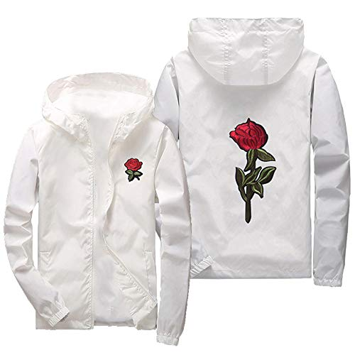 iYYVV Mens Thin Embroidery Rose Casual Sports Zipper Solid Color Coat Hoodie Jacket -