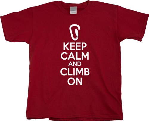 KEEP CALM AND CLIMB ON Youth Unisex T-shirt / Cute, Funny Rock Climbing Shirt