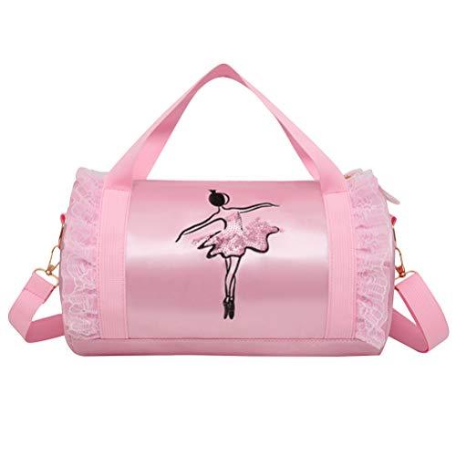 FENICAL Girls ballet bag Shoulder Dance Bag Duffle Bag Tote Messenger Bag for Ballerina Dancer (Pink Short Yarn) ()
