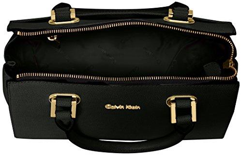 Calvin Klein Key Item Small Mercury Saffiano Top Zip Satchel, Black/Gold by Calvin Klein (Image #5)