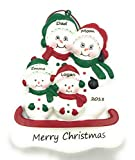 Personalized Snowman Family of 4 Christmas Ornament 2019