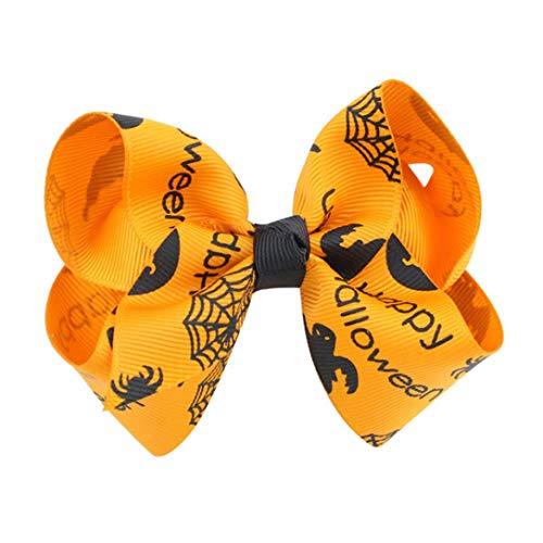 Clearance!!! Hongxin Black and Orange Shabby Chiffon Flower Hairbands Halloween Headbands Satin Rose Hair Band Children Sequin Bowknot Accessories (Orange) ()