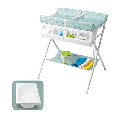 LXF Children Changing Table Cross Leg Style, Foldable Nursery Organizer for Infant Travel, Bathtub Diaper Station, 0-3 Years Old (Color : Green)