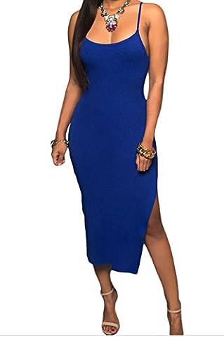 Christmas DH-MS Dress Women's Blue Side Slit Midi Dress M (Burke Wireless Mouse)