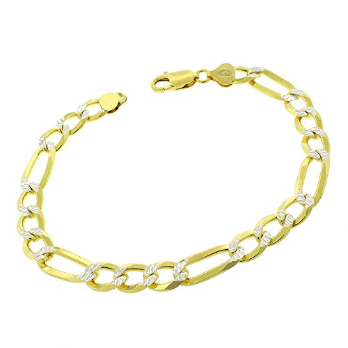 Sterling Silver Italian 8.5mm Figaro Link Diamond Cut Two-Tone Pave ITProLux Solid 925 Yellow Gold Bracelet Chain 9