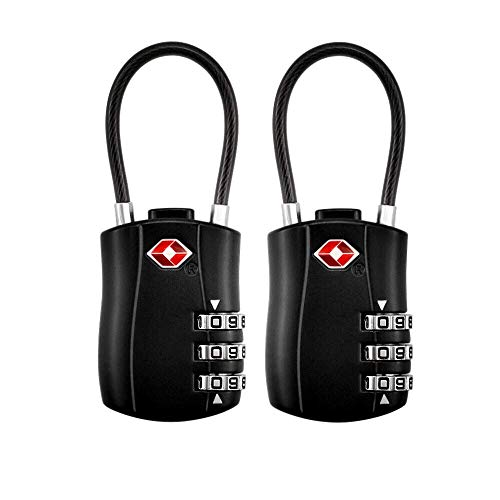 TSA Luggage Locks (2 Pack),3 Digit Security Padlock,Combination lock,Approved Travel Cable Locks for Suitcases Luggage Bag Toolbox Case ()