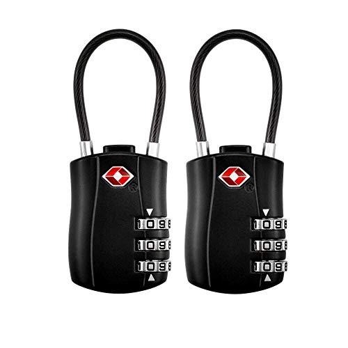 TSA Luggage Locks (2 Pack),3-Digit Security Padlock,Combination Padlocks,Number Code Locks,Combination Cable Padlock for Travel Suitcases Luggage Bag Toolbox Case