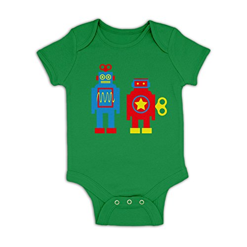 70s Kelly Green (Wind Up Robots Baby Grow - Kelly Green 18 - 24 Months)