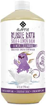 Alaffia - Everyday Shea Bubble Bath, Babies and Kids, Gentle Support to Clean, Moisturize, and Calm with Shea Butter, Lemon Extract, and Lavender Oil, Fair Trade, Lemon Lavender, 32 Ounces (FFP)