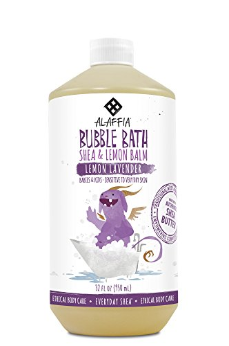Alaffia - Everyday Shea Bubble Bath, Babies and Kids, Gentle Support to Clean, Moisturize, and Calm with Shea Butter, Lemon Extract, and Lavender Oil, Fair Trade, Lemon Lavender, 32 Ounces (Baby Bubble Bath)