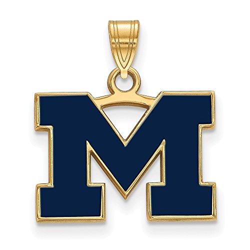 (Beautiful Sterling Silver w/GP LogoArt Michigan (Univ of) Small Blue Enamel Pendant)