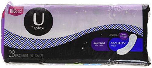 U by Kotex Security Maxi Overnight Pads, Regular, Unscented, 28 Count, Pack of 4 (112 Count Total)