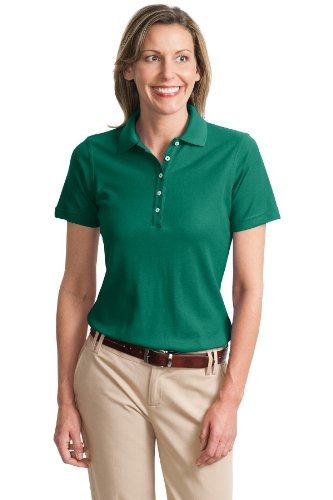 Port Authority Ladies Cotton Pique Knit Sport Shirt, 4XL, Emerald Green