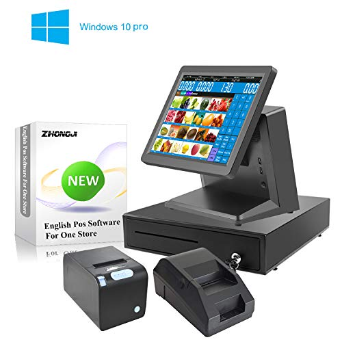 ZHONGJI B6000 Featured All in One Retail Bundle Includes 15 Inch Touch Pos System 58mm & 80mm Thermal Printer, Steel Cash Box, Keyboard and Mouse for Restaurant