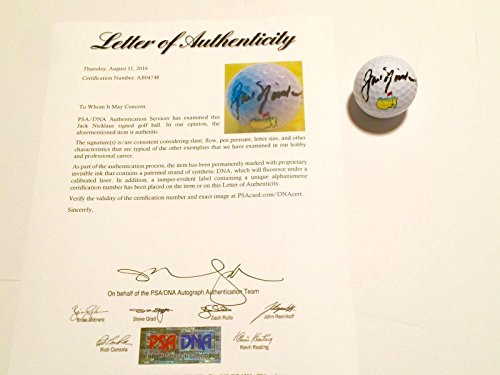 Jack Nicklaus Signed Masters - Jack Nicklaus Hand Signed Masters Golf Ball LOA Golden Bear - PSA/DNA Certified - Autographed Golf Balls