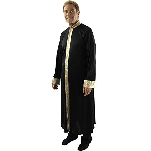 Danzcue Mens Worship Dance Stained Glass Robe, Black-Gold, S-M]()