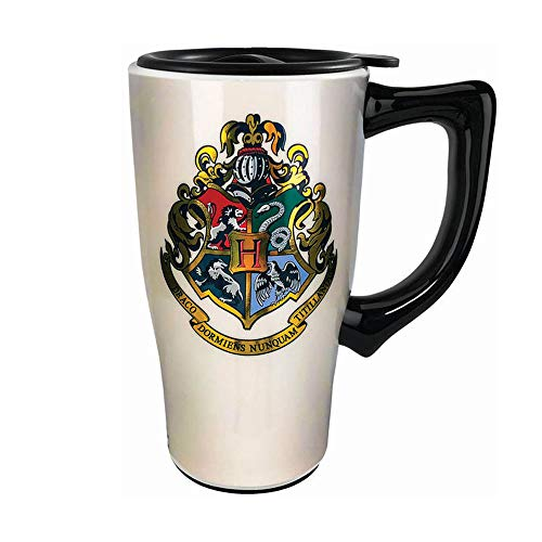 Spoontiques 12850 Hogwarts Crest Ceramic Travel Mug, 18 ounces, White