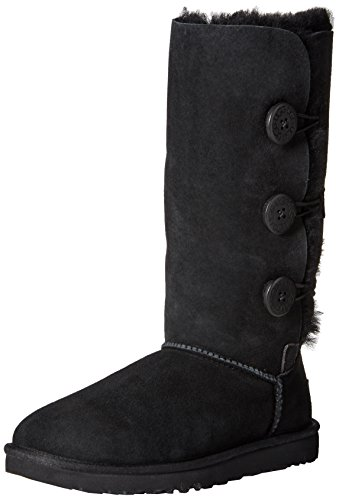 UGG Women's Bailey Button Triplet, Black, 5 M US (Uggs Bailey Button Chestnut)