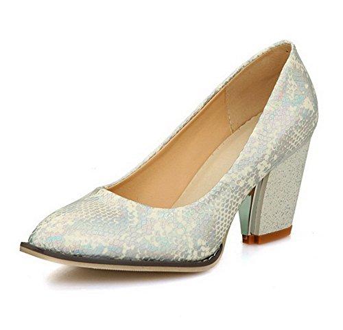 VogueZone009 Damen PU Leder Hoher Absatz Spitz Zehe Rein Ziehen auf Pumps Schuhe Weiß