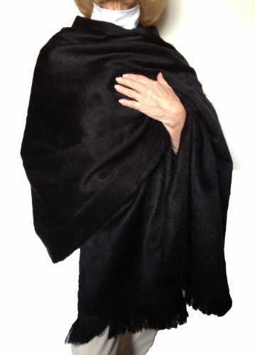 Solid Black Cape (Super Soft Baby Alpaca Wool Reversible Shawl Wrap Cape Solid Rich Black Color)