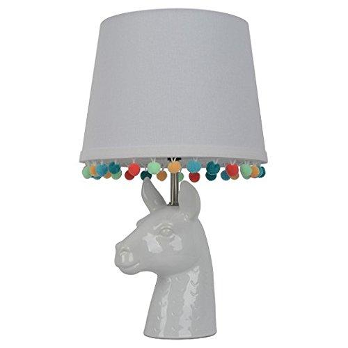Llama Figural Table Lamp with Pom Pom Trim Shade (Includes CFL bulb)