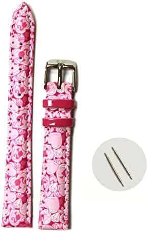 14mm Kid's Padded Straps Band Magenta Print Pink Cartoons Pattern USWB1019B14FB