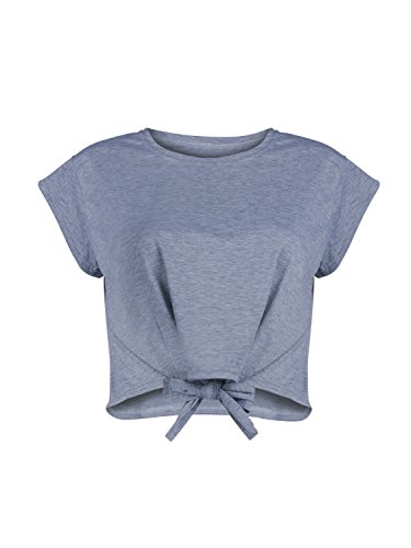 CHOiES record your inspired fashion Women's Cotton Gray Summer Tie Front Short Sleeve Round Neck Crop Top, Large ()
