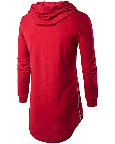 Zhuikun Rouge Capuche Tops Casual À shirts Homme T Longues Manches Sweat rPx6qrZO