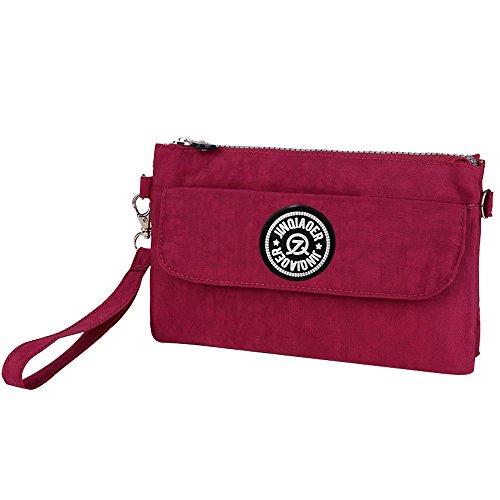 purplish Casual Bag Wiwsi Women Design red purple Money Clutch Phone New Pocket Purse Pouch Nylon OqgRwO0