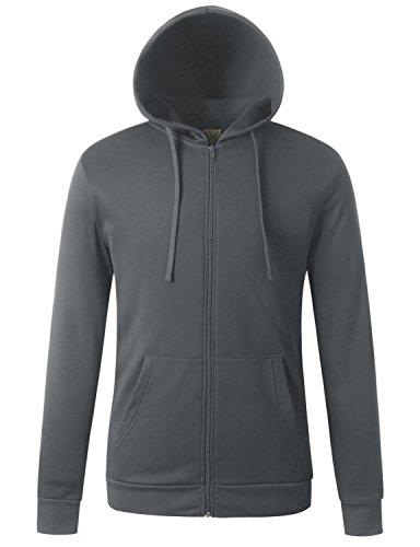 Regna X for Men Front Zip Hood Jogging Grey Large Fleece Jackets