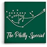 """Personalized Corner Philadelphia Eagles Framed Canvas Print - Philly Special Super Bowl Champs - Football Wall Decor and Gift (18""""x18"""")"""