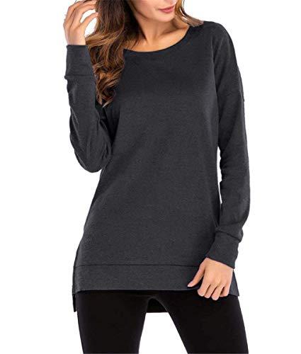 Kool Classic Womens Casual Long Sleeve Crewneck Side Split Loose Pullover Tunic Tops