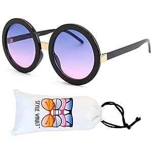 V3052-VP Style Vault Crazy Round Oversized Sunglasses (S2183V Black-indigo smoked)