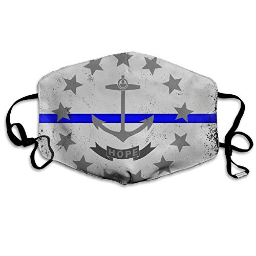 Blue Line Rhode Island State Flag Washable Reusable Safety Mask, Cotton Anti Dust Half Face Mouth Mask for Kids Teens Men Women Lovers Dustproof With Adjustable Ear ()