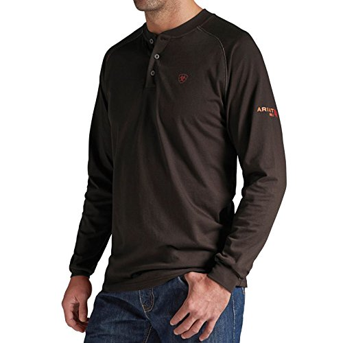 Ariat Men's Flame-Resistant Coffee Bean Henley Work Shirt Coffee X-Large by Ariat (Image #1)