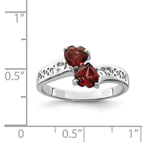 (Sterling Silver Rhodium Plated Garnet Heart Ring. Gem Wt- 1.05ct)